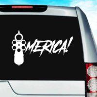 Merica Gun Pistol Vinyl Car Window Decal Sticker