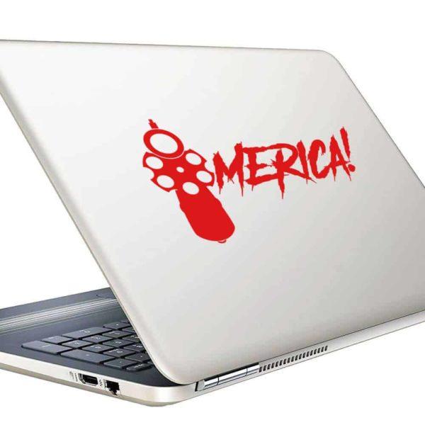 Merica Gun Pistol Vinyl Laptop Macbook Decal Sticker