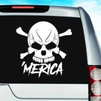 Merica Skul Vinyl Car Window Decal Sticker