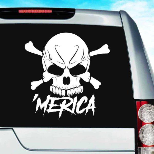 Merica Skul Vinyl Car Window Decal Sticker