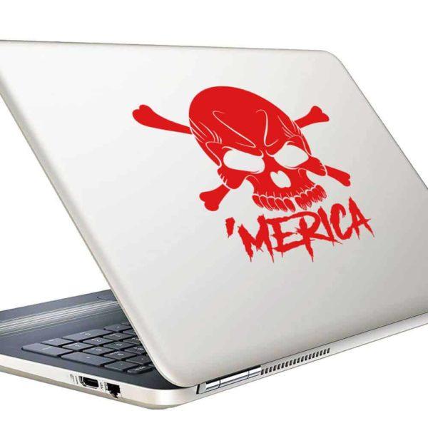 Merica Skul Vinyl Laptop Macbook Decal Sticker