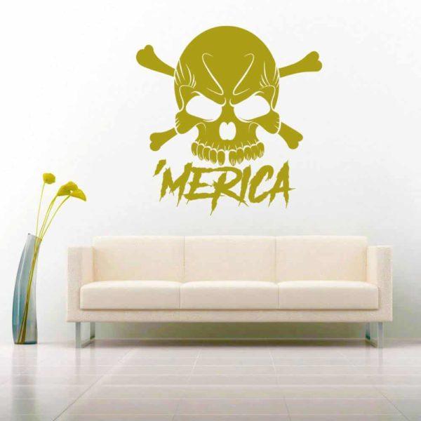 Merica Skul Vinyl Wall Decal Sticker