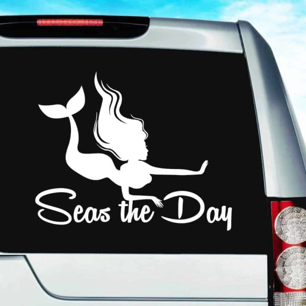 Mermaid Seas The Day Vinyl Car Window Decal Sticker