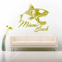 Miami Beach Fish Skeleton Vinyl Wall Decal Sticker