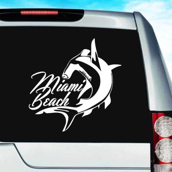 Miami Beach Florida Hammerhead Shark Vinyl Car Window Decal Sticker