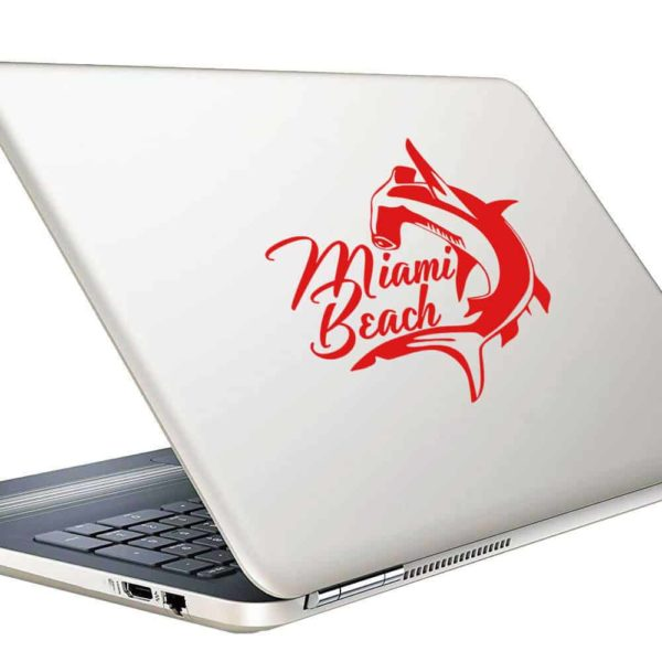 Miami Beach Florida Hammerhead Shark Vinyl Laptop Macbook Decal Sticker