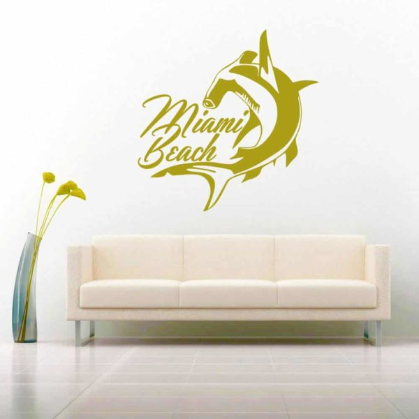 Miami Beach Florida Hammerhead Shark Vinyl Wall Decal Sticker