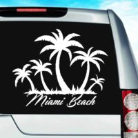 Miami Beach Palm Tree Island Vinyl Car Window Decal Sticker