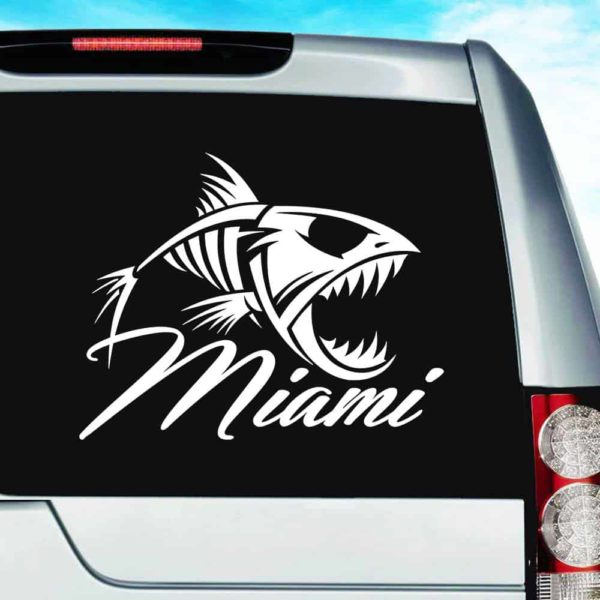 Miami Florida Fish Skeleton Vinyl Car Window Decal Sticker