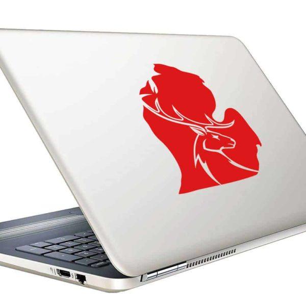 Michigan Deer Head Vinyl Laptop Macbook Decal Sticker