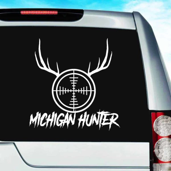 Michigan Hunter Rifle Gun Scope Antlers Vinyl Car Window Decal Sticker