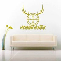 Michigan Hunter Rifle Gun Scope Antlers Vinyl Wall Decal Sticker