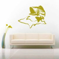 Michigan Up Upper Peninsula Bass Fishing Vinyl Wall Decal Sticker