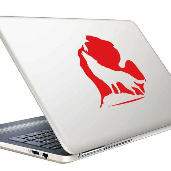Michigan Wolf Imbed Vinyl Laptop Macbook Decal Sticker