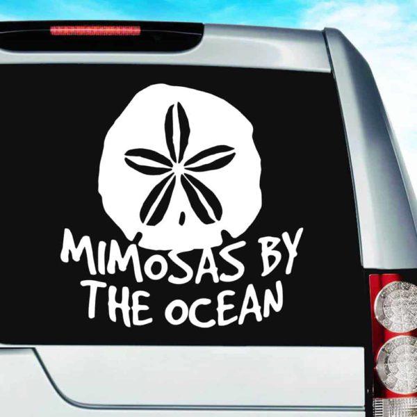 Mimosas By The Ocean Sand Dollar Vinyl Car Window Decal Sticker