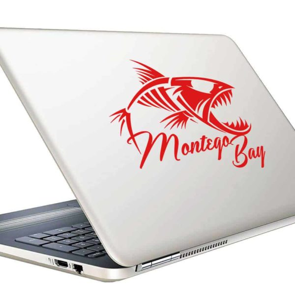 Montego Bay Jamaica Fish Skeleton Vinyl Laptop Macbook Decal Sticker