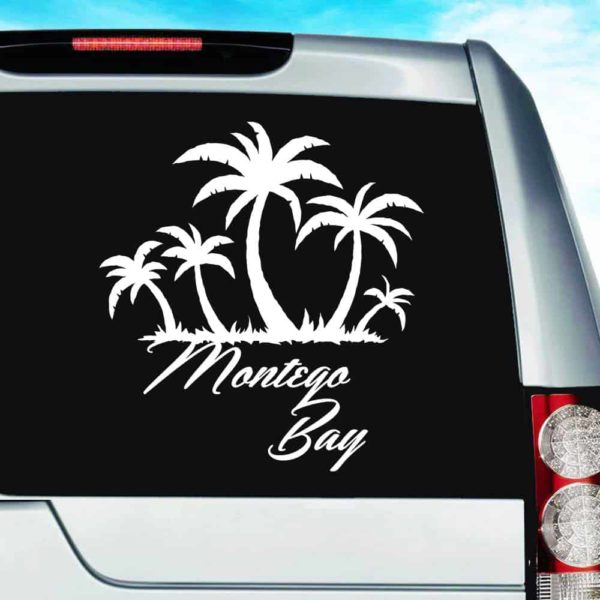 Montego Bay Jamaica Palm Tree Island Vinyl Car Window Decal Sticker