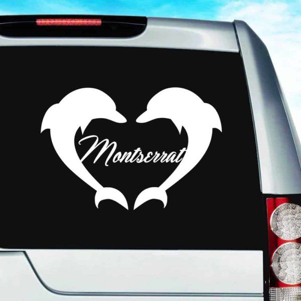 Montserrat Dolphin Heart Vinyl Car Window Decal Sticker