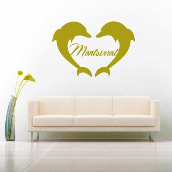 Montserrat Dolphin Heart Vinyl Wall Decal Sticker