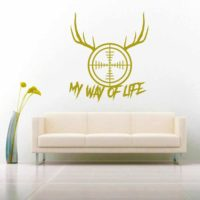 My Way Of Life Deer Hunter Rifle Gun Scope Antlers Vinyl Wall Decal Sticker