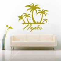 Naples Palm Tree Island Vinyl Wall Decal Sticker