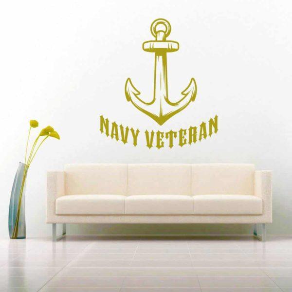 Navy Veteran Anchor Vinyl Wall Decal Sticker