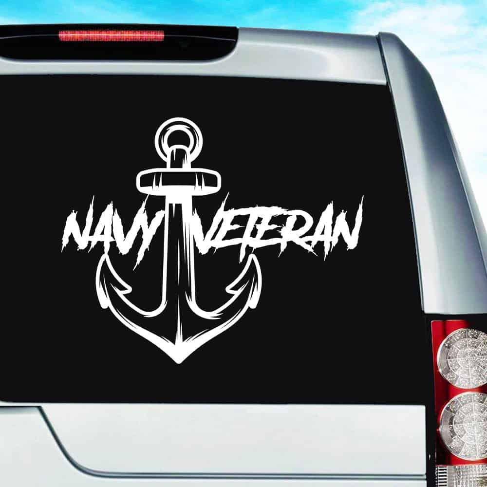 Anna Maria Island: U.S. Navy Veteran Anchor Vinyl Car Window Decal Sticker