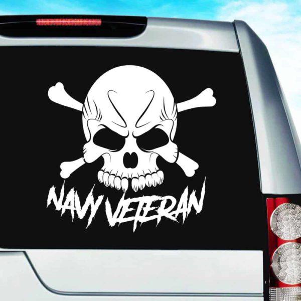 Navy Veteran Skull Vinyl Car Window Decal Sticker