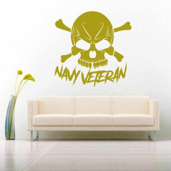 Navy Veteran Skull Vinyl Wall Decal Sticker