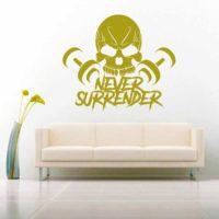 Never Surrender Skull Dumbbells Vinyl Wall Decal Sticker