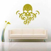 No Days Off Skull Dumbbells Vinyl Wall Decal Sticker
