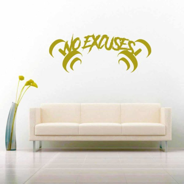 No Excuses Dumbells Vinyl Wall Decal Sticker