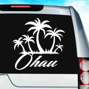Oahu Hawaii Palm Tree Island Vinyl Car Window Decal Sticker