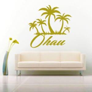 Oahu Hawaii Palm Tree Island Vinyl Wall Decal Sticker