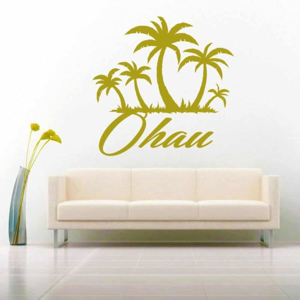 Oahu Hawaii Palm Tree Island Vinyl Wall Decal Sticker