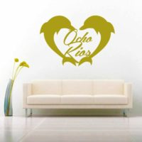 Ocho Rios Dolphin Heart Vinyl Wall Decal Sticker