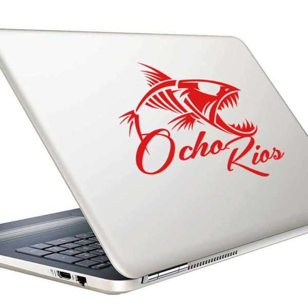 Ocho Rios Jamaica Fish Skeleton Vinyl Laptop Macbook Decal Sticker