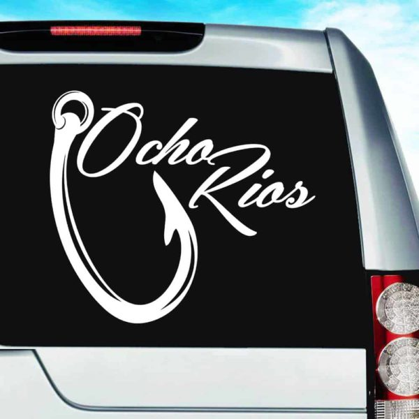 Ocho Rios Jamaica Fishing Hook Vinyl Car Window Decal Sticker