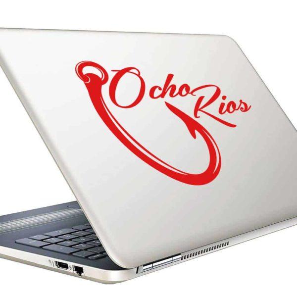Ocho Rios Jamaica Fishing Hook Vinyl Laptop Macbook Decal Sticker