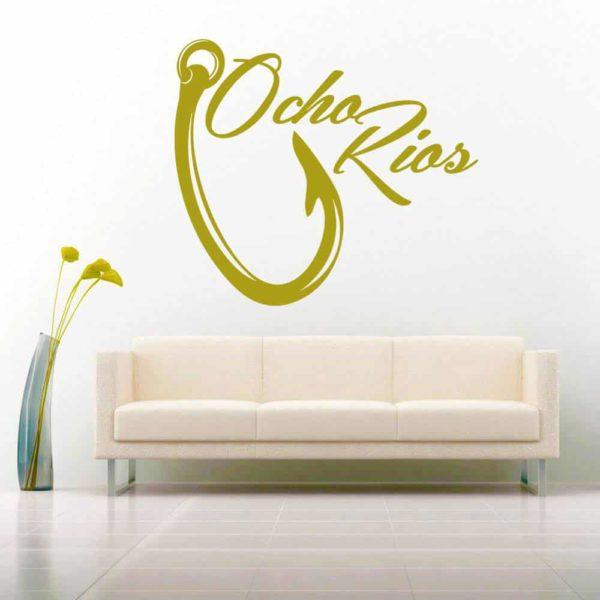 Ocho Rios Jamaica Fishing Hook Vinyl Wall Decal Sticker