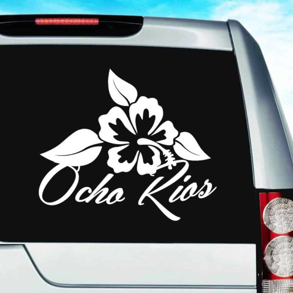 Ocho Rios Jamaica Hibiscus Flower Vinyl Car Window Decal Sticker