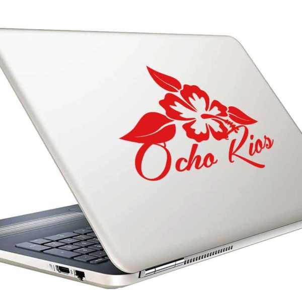 Ocho Rios Jamaica Hibiscus Flower Vinyl Laptop Macbook Decal Sticker