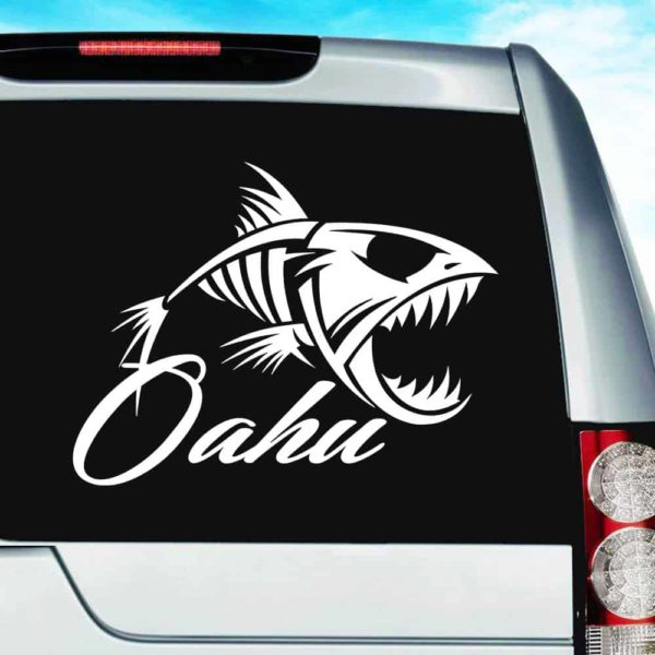 Ohau Hawaii Fish Skeleton Vinyl Car Window Decal Sticker