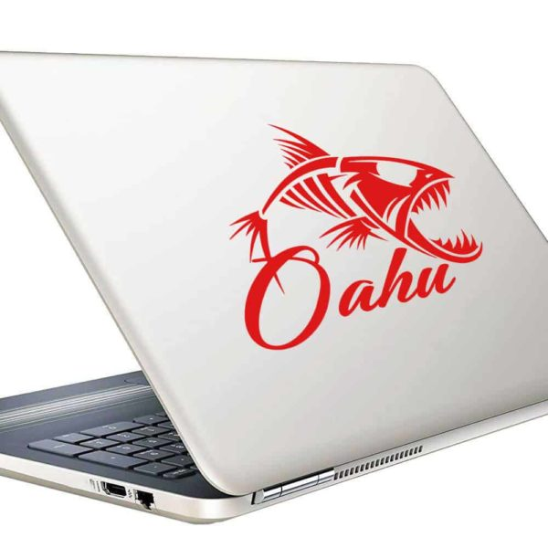 Ohau Hawaii Fish Skeleton Vinyl Laptop Macbook Decal Sticker