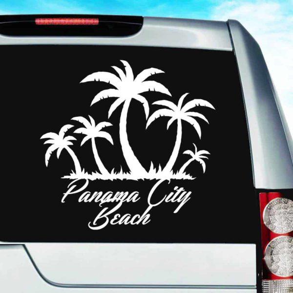 Panama City Beach Florida Palm Tree Island Vinyl Car Window Decal Sticker