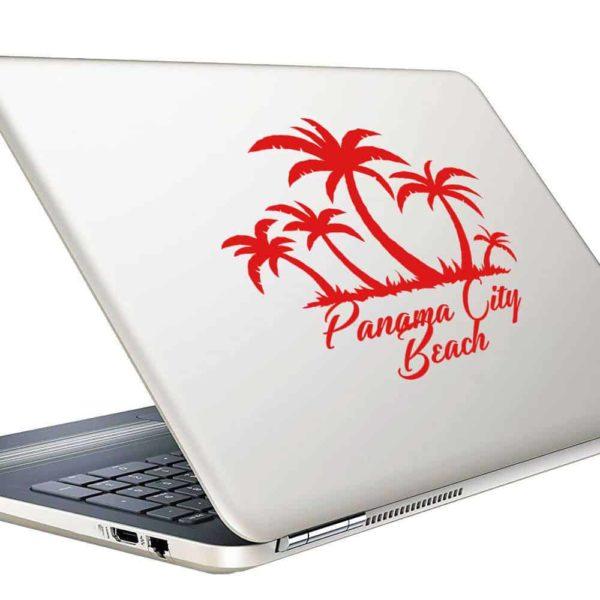 Panama City Beach Florida Palm Tree Island Vinyl Laptop Macbook Decal Sticker