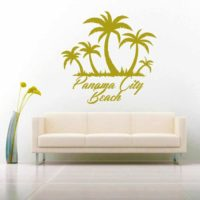 Panama City Beach Florida Palm Tree Island Vinyl Wall Decal Sticker