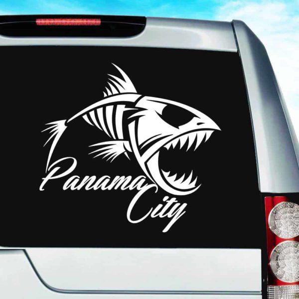 Panama City Florida Fish Skeleton Vinyl Car Window Decal Sticker