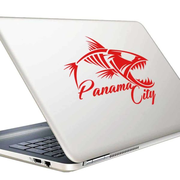Panama City Florida Fish Skeleton Vinyl Laptop Macbook Decal Sticker