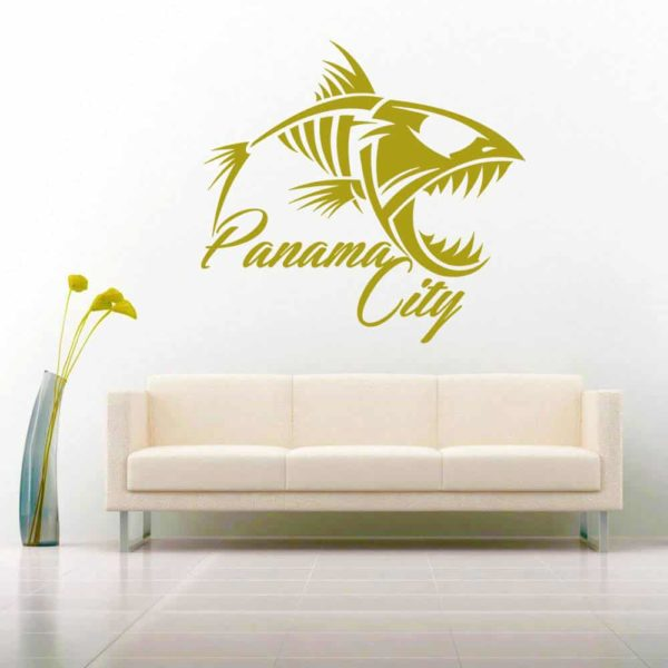 Panama City Florida Fish Skeleton Vinyl Wall Decal Sticker